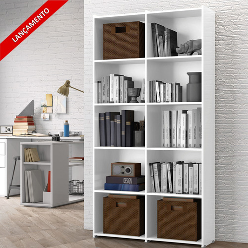 Estante Para Livros Holanda 04 Prateleiras 10 Nichos - Branco