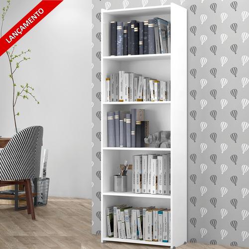 Estante Para Livros Suíça 4 Prateleiras 5 Nichos - Branco