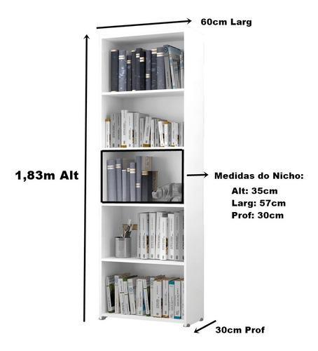 Estante Para Livros Suíça 4 Prateleiras 5 Nichos - Preto