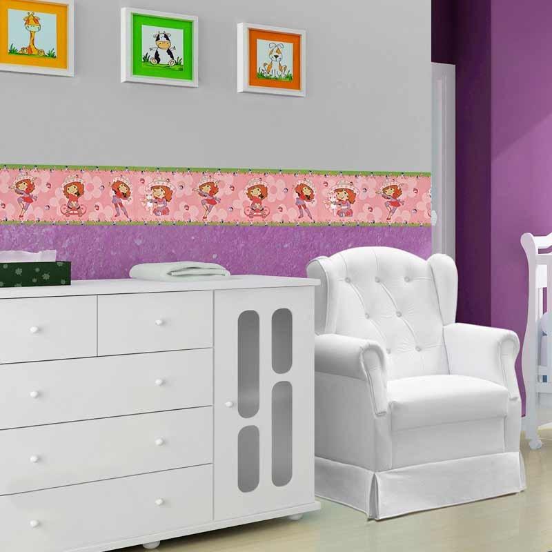 Faixa Decorativa Infantil Boldor Cor Menina Moranguinho