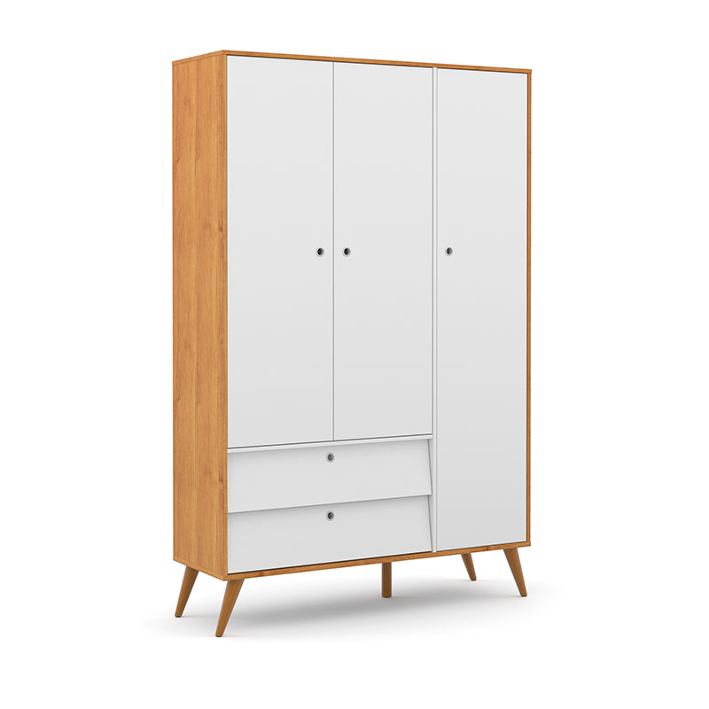 Guarda Roupa 3 Portas Gold Matic Freijó Branco Soft/Eco Wood