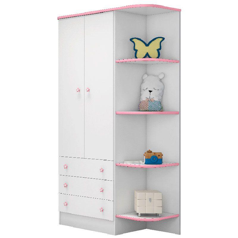 Guarda Roupa Infantil 2 Portas Doce Sonho Qmovi Branco Rosa