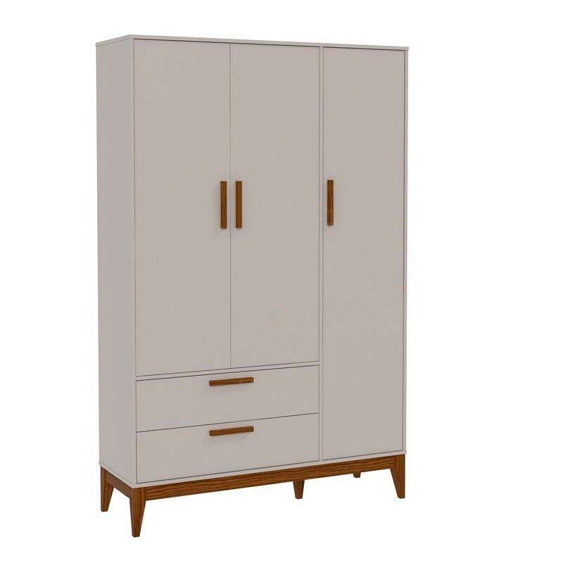 Guarda Roupa Nature 3 Portas Matic Cor Cinza Eco Wood