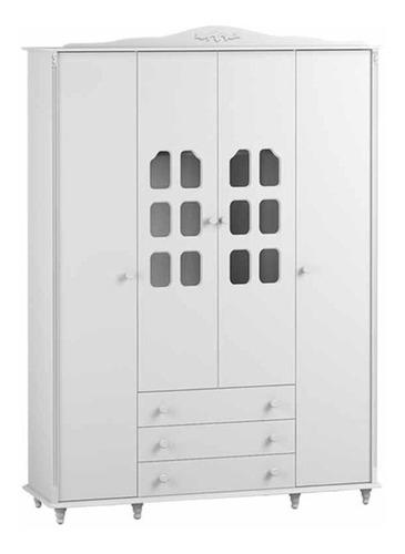 Guarda Roupa Provence 4 Portas Matic Branco Acetinado