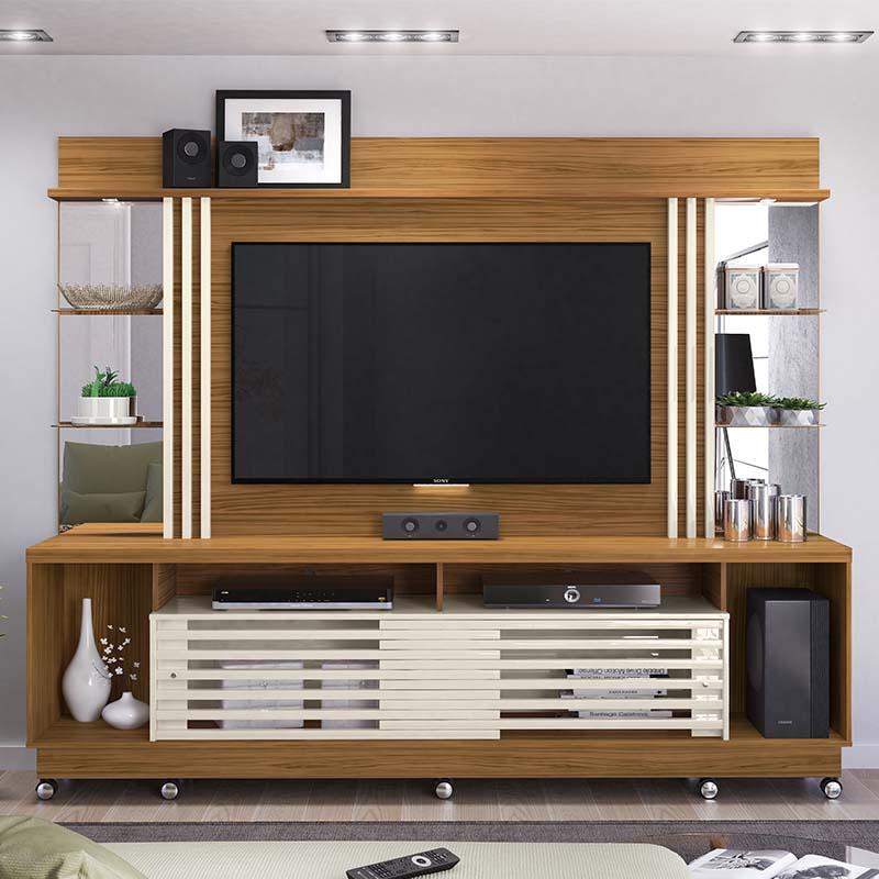 Home Theater Tv 55 Polegadas Frizz Gold Com Rodízio Madetec Cor Naturale Off White