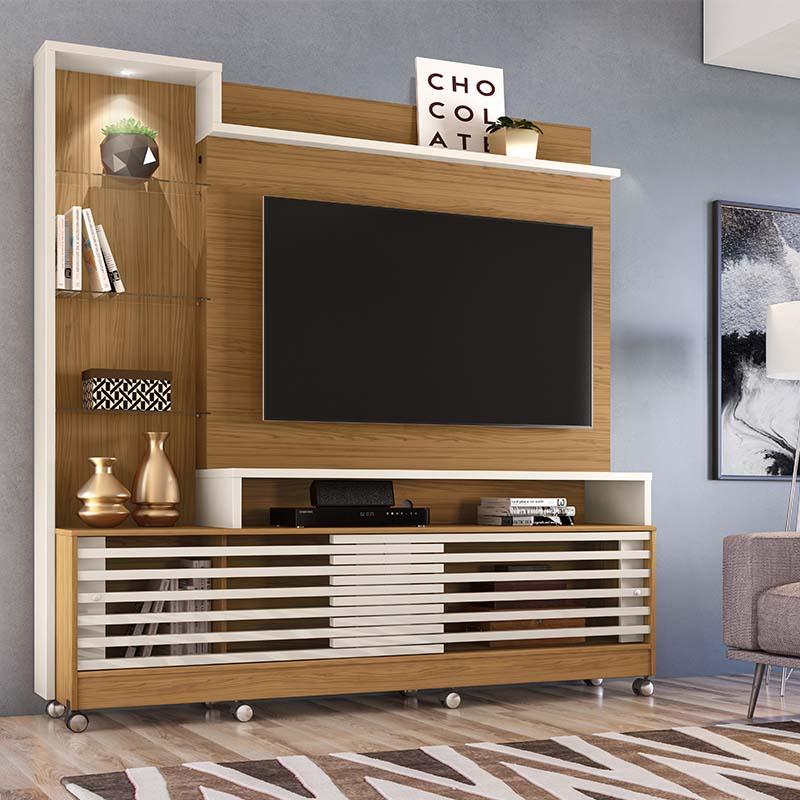 Home Theater Tv 55 Polegadas Frizz Prime Com Rodízio Madetec Cor Naturale Off White