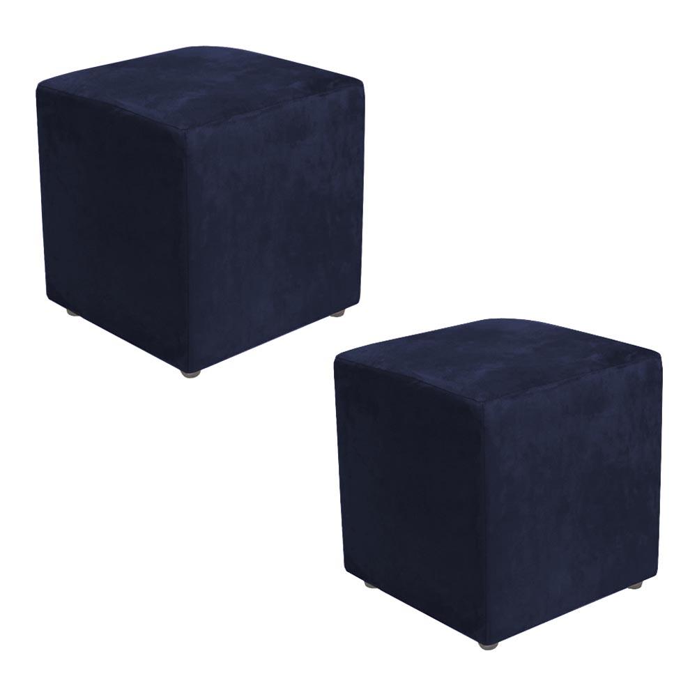 Kit 2 Puffs Decorativos Dado Suede - Azul Marinho