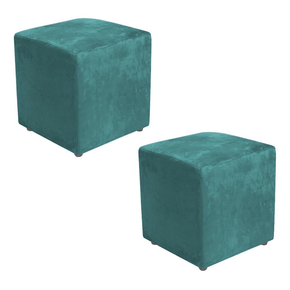 Kit 2 Puffs Decorativos Dado Suede - Azul Tiffany