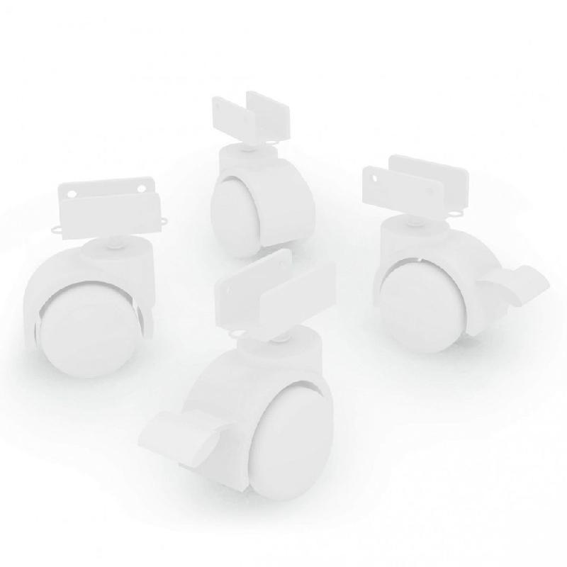 Kit 6 Rodízios Espessura de 18 mm Cor Branco