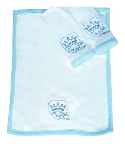 Kit Com 3 Fraldinhas De Boca Em Malha Its A Boy Cor Azul