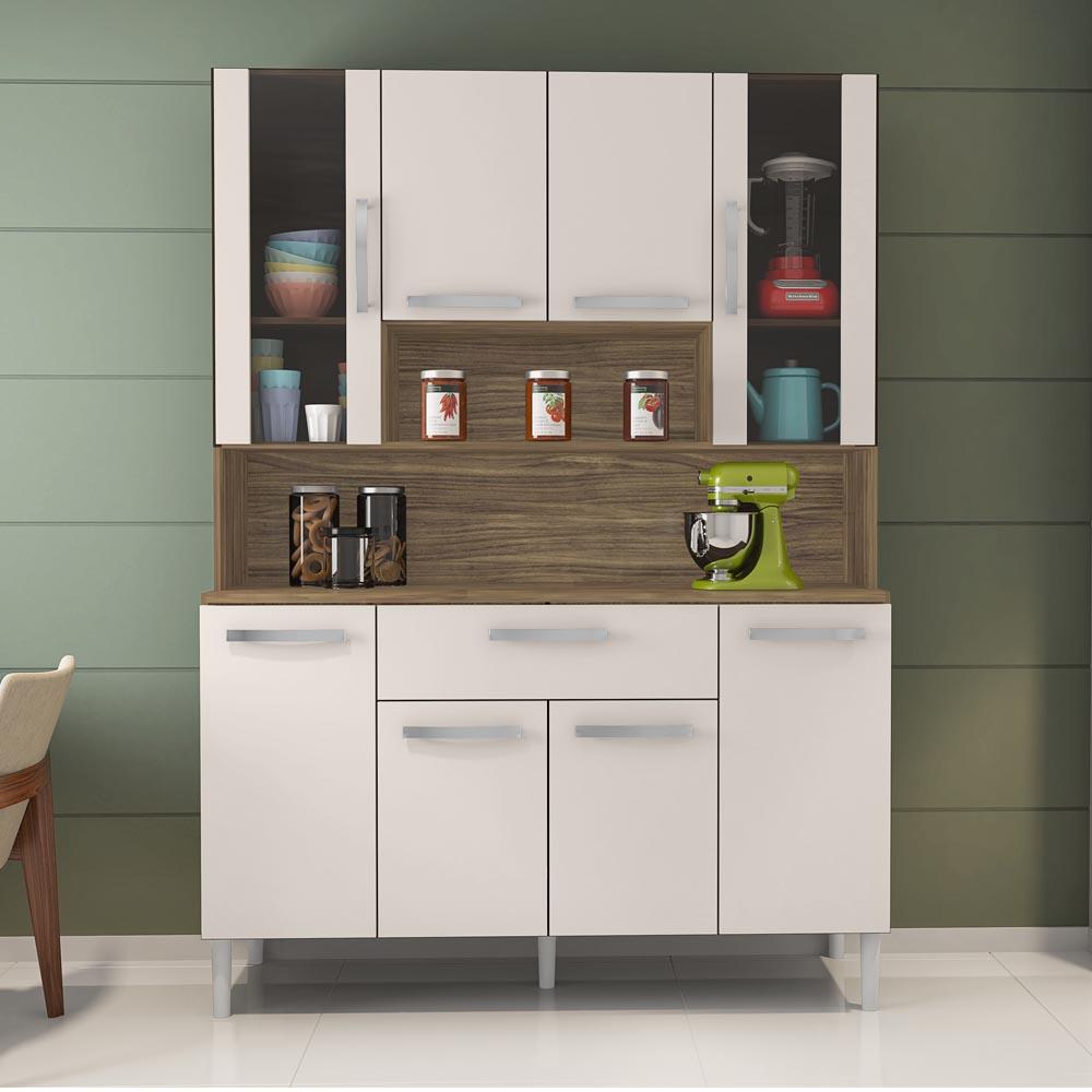 Kit Cozinha Cancun 8 Portas Incorplac Cor Teka Champanhe