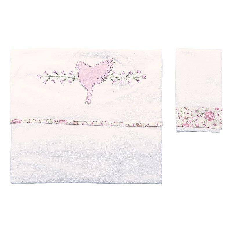 Lençol de Berço Kit 3 Peças Cantiga Hug Baby Cor Rosa