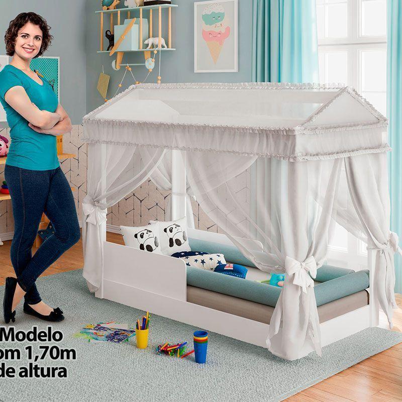 Mini Cama Infantil Montessoriana com Dossel Pura Magia Cor Branco
