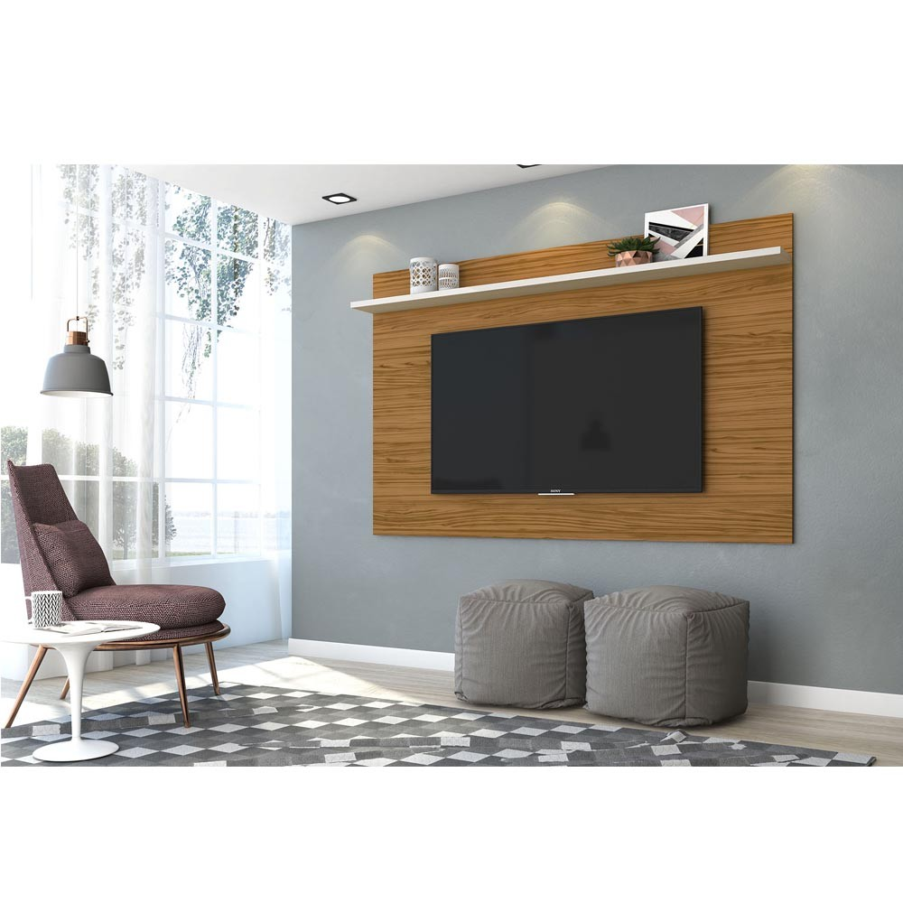 Painel TV 60 Polegadas Lorenzo 180 cm Madetec Nat Off White