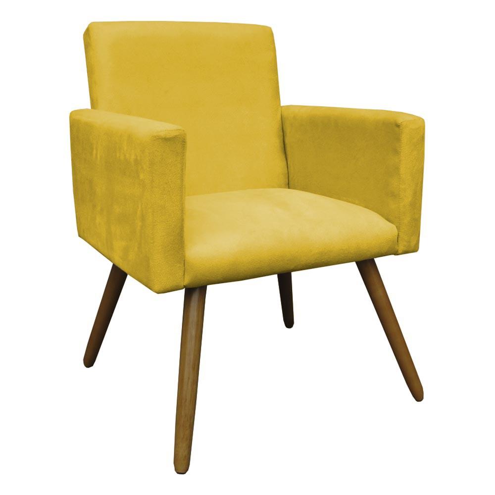 Poltrona Decorativa Sala e Escritório Alice Suede Amarelo