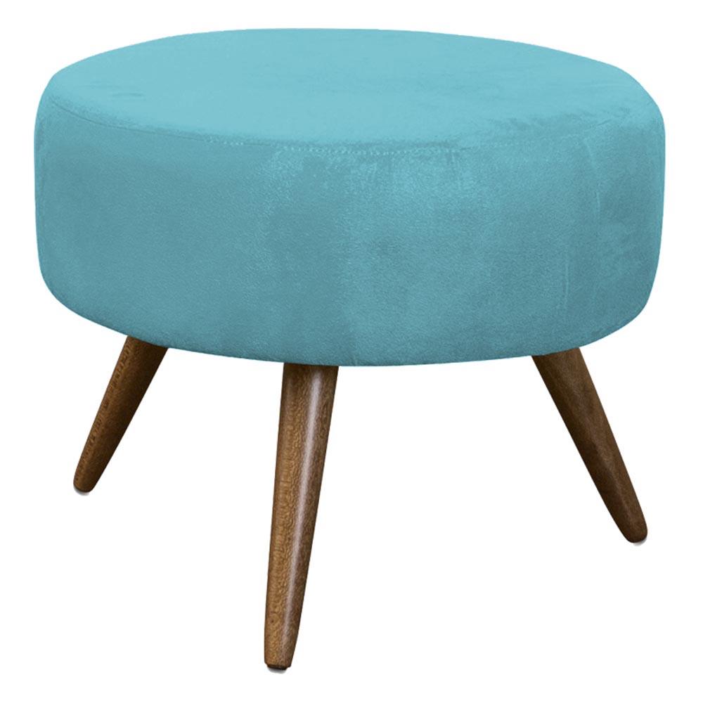 Puff Decorativo Redondo Danny Pés Palitos - Azul Turquesa