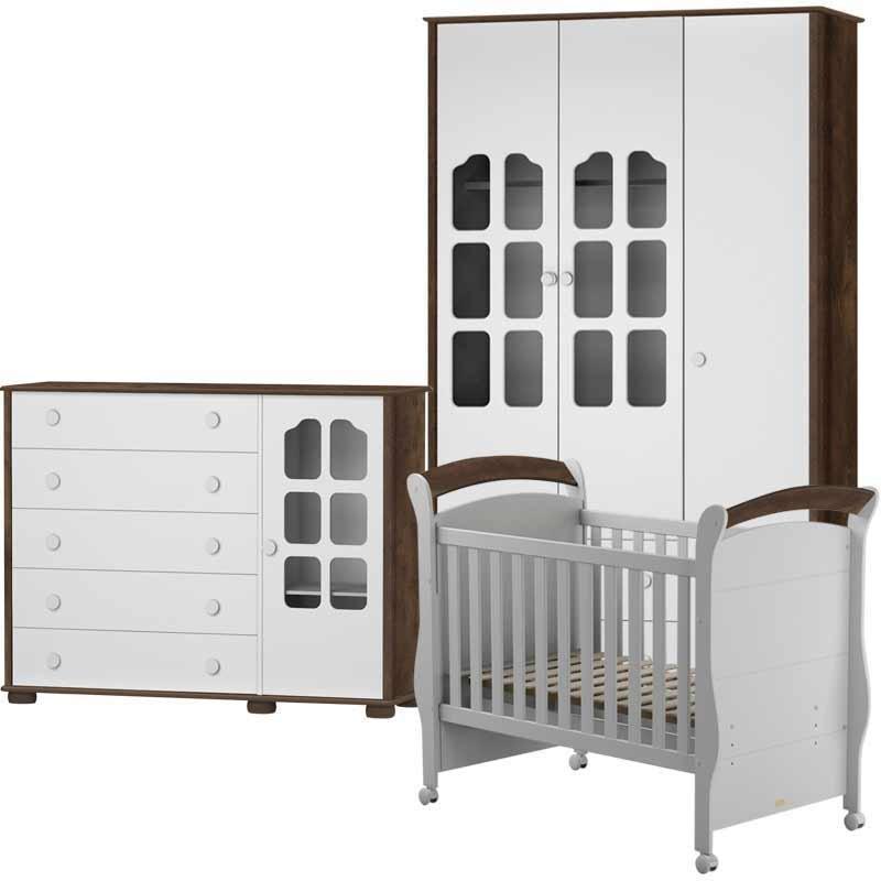 Quarto de Bebê Amore Slim 3 Portas Matic Cor Branco Madeira