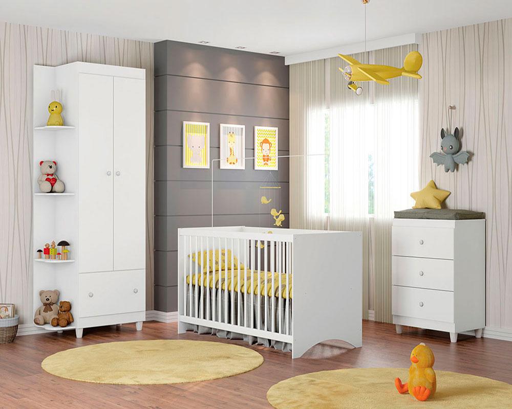 Quarto de Bebê Gutti Móveis Estrela Cor Branco
