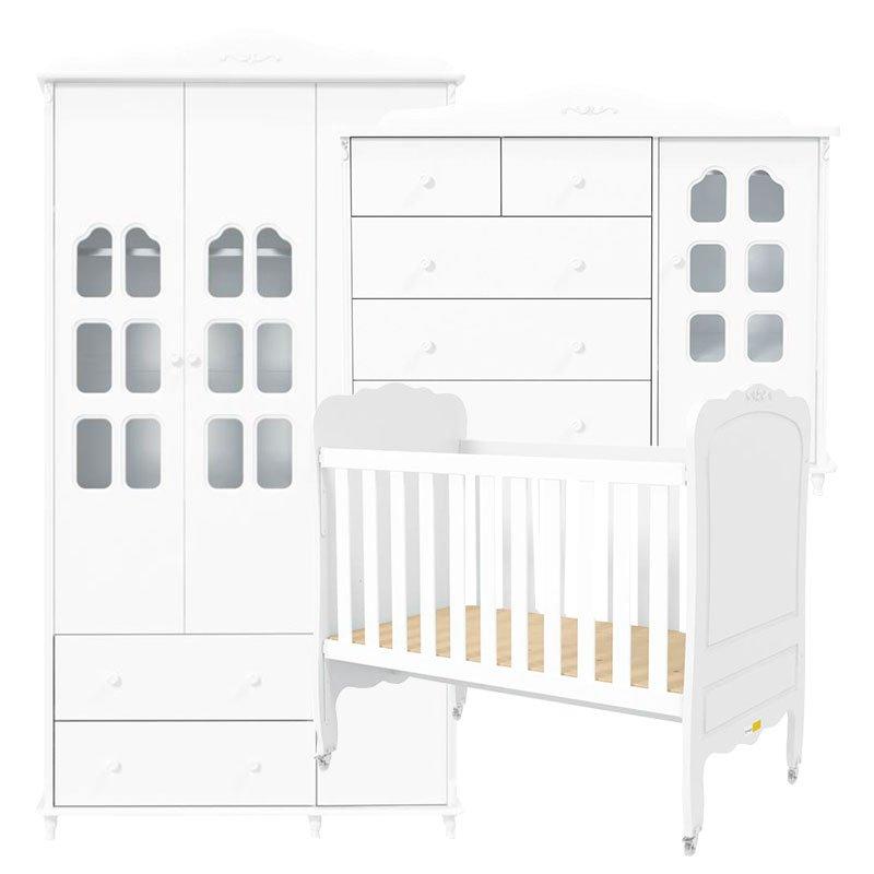 Quarto de Bebê Provence 3 Portas Matic Cor Branco Acetinado