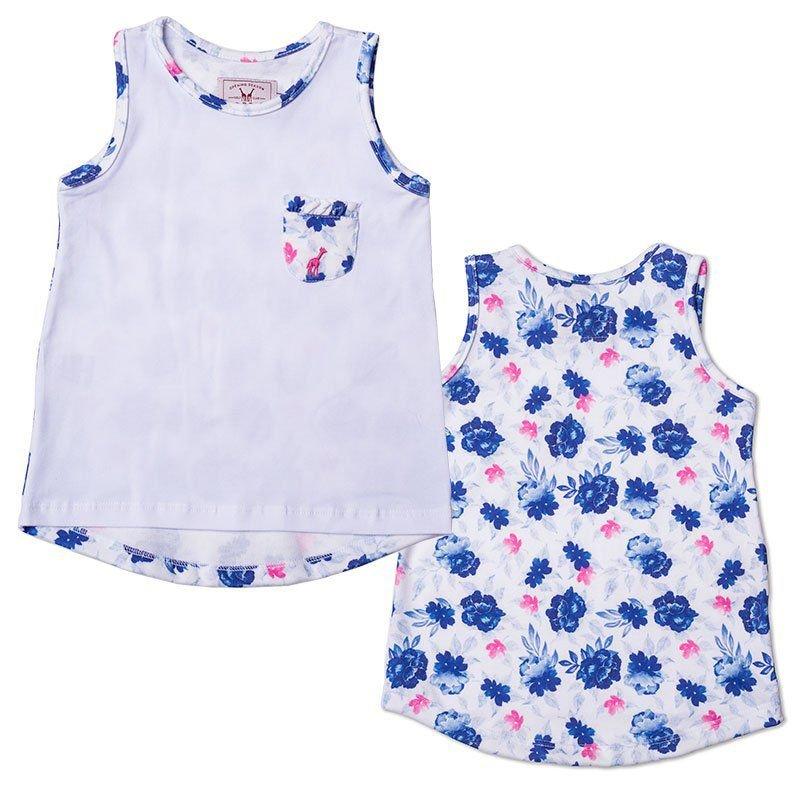 Regata Infantil com Bolso Floral Azul Toffee