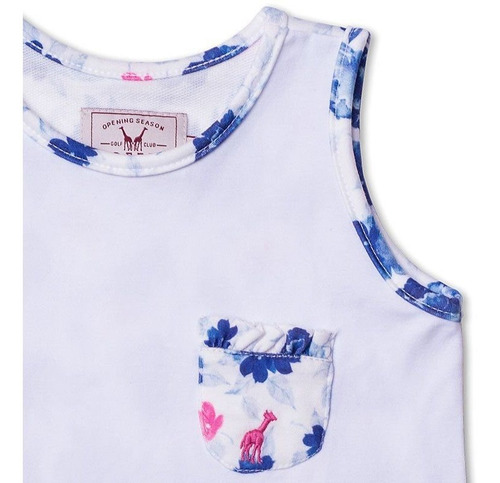 Regata Infantil Com Bolso Floral Azul Toffee - Nº03