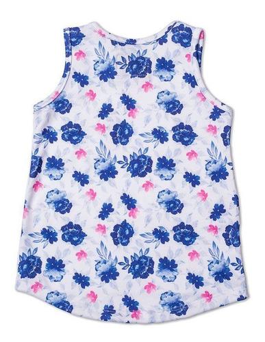 Regata Infantil Com Bolso Floral Azul Toffee - Nº06
