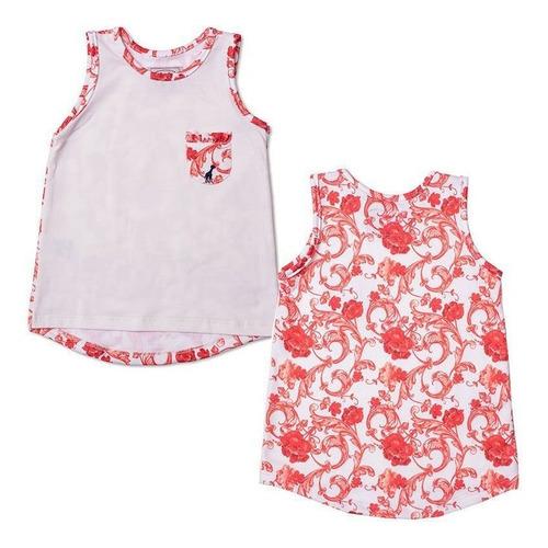 Regata Infantil Com Bolso Floral Laranja Toffee - Nº06