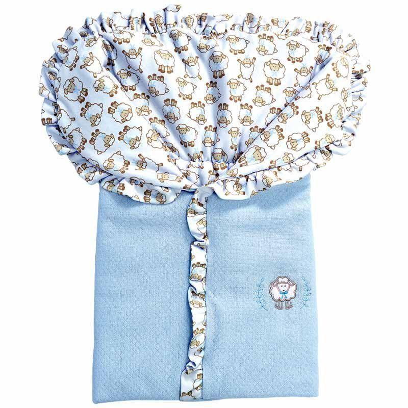Saco Porta Bebê Algodão Doce Hug Baby Cor Azul