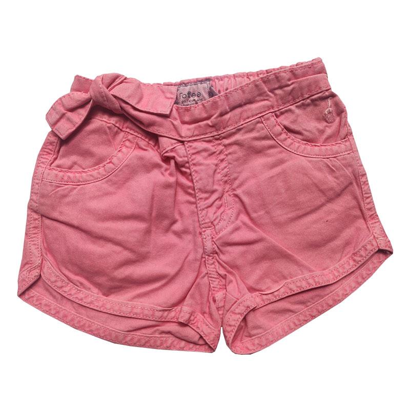 Shorts Jeans Infantil Feminino Toffee Cor Rosa - Tamanho 02
