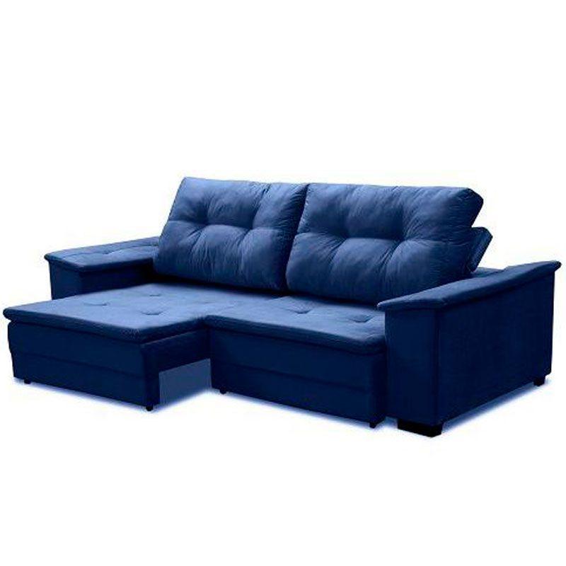 Sofá Camaro 4 Lugares 2,32m Retrátil Reclinável Fratello Cor Azul