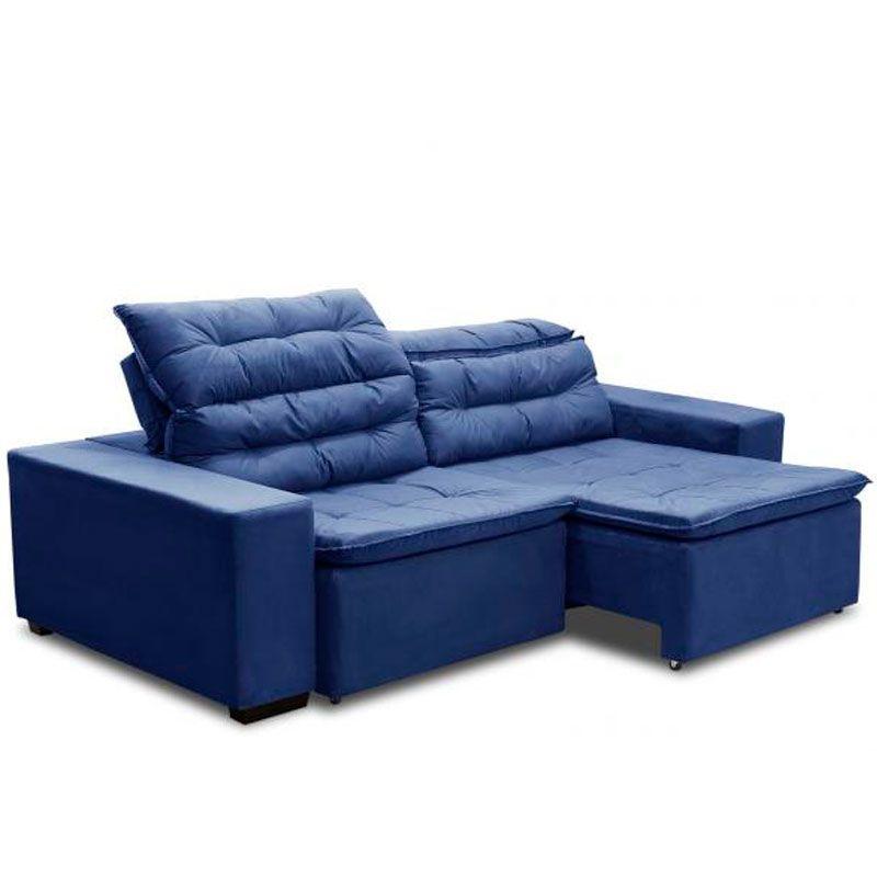 Sofá Chiron 4 Lugares 2,32m Retrátil Reclinável Fratello Cor Azul