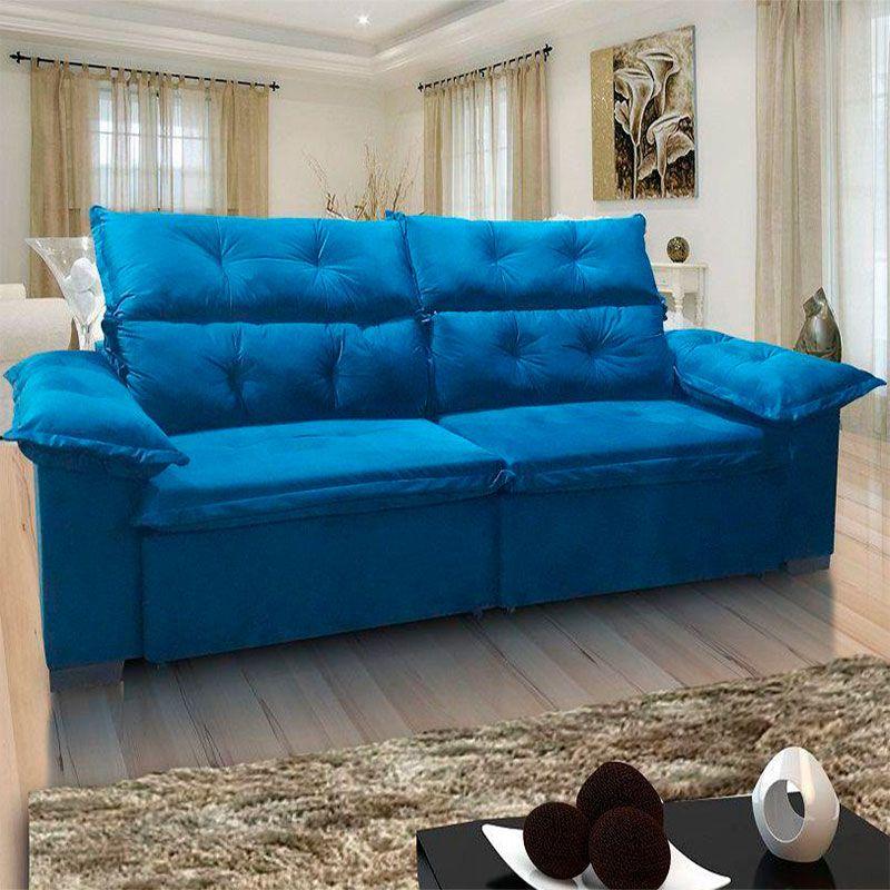 Sofá Velar retrátil e reclinável 3,00m Fratello Cor Azul