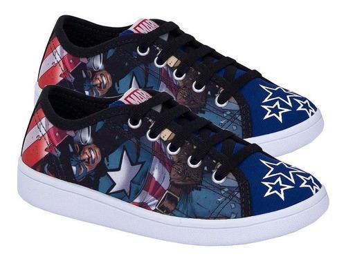 Tênis Infantil Capitão América Vingadores Sugar Shoes - Nº29