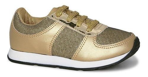 Tênis Infantil Diversão Gliter Sugar Shoes Cor Ouro - N°29