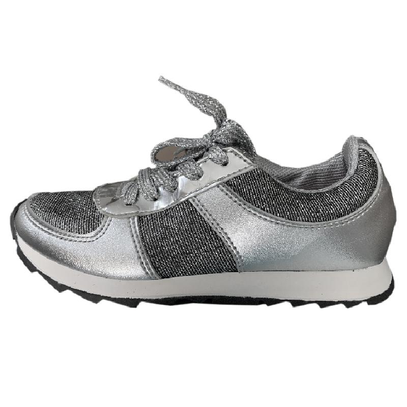 Tênis Infantil Diversão Gliter Sugar Shoes Cor Prata - N°27