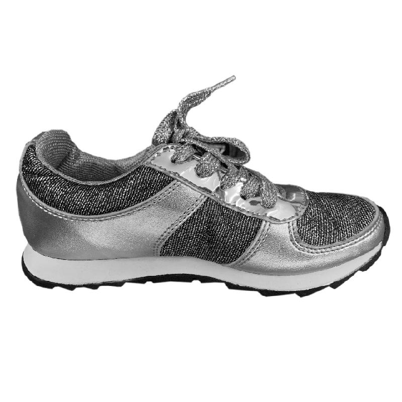 Tênis Infantil Diversão Gliter Sugar Shoes Cor Prata - N°28