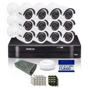 Kit CFTV 12 Câmeras Bullet Giga 720p DVR Intelbras 16 canais