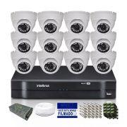 Kit CFTV 12 Câmeras Dome HB 720p DVR Intelbras 16 Canais
