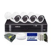 Kit CFTV 4 Câmeras Bullet Giga 720p DVR Intelbras 4 canais