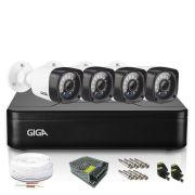 Kit CFTV 4 Câmeras de Vigilância Giga Bullet 720p DVR 4 Canais