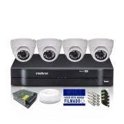 Kit CFTV 4 Câmeras Dome HB 720p DVR Intelbras 4 Canais