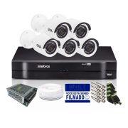 Kit CFTV 5 Câmeras Bullet Giga 720p DVR Intelbras 8 canais