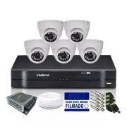 Kit CFTV 5 Câmeras Dome HB 720p DVR Intelbras 8 Canais