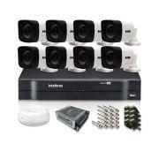 Kit CFTV 8 Câmeras Bullet HB 720p DVR Intelbras 8 canais