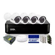 Kit CFTV Giga 4 Câmeras Bullet 720p DVR 4 Canais Lite