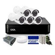 Kit CFTV Giga 5 Câmeras Bullet 720p DVR 8 Canais Lite