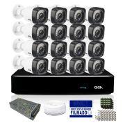 Kit CFTV Giga Full HD 16 Câmeras Bullet 1080p HVR 16 Canais
