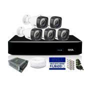 Kit CFTV Giga Full HD 5 Câmeras Bullet 1080p HVR 8 Canais