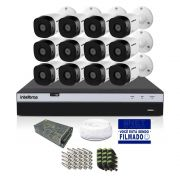 Kit CFTV Intelbras Full HD 12 Câmera VHD 1220B DVR MHDX 3116