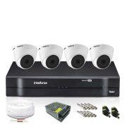 Kit Monitoramento Intelbras com 4 Câmeras de Segurança Dome 720p